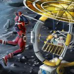 Katana wielding woman attacking Moon Strider vehicle